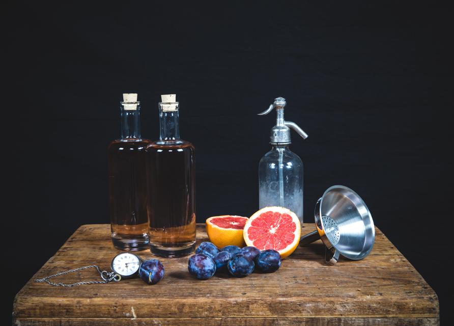 Gin arrangé prune, pamplemousse
